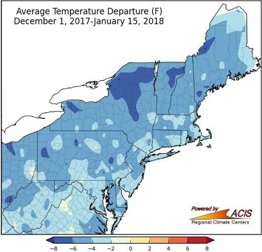 According to the Northeast Regional Climate Center, from Dec. 1, 2017 to Jan. 15, 2018, Sikorsky Memorial Airport's temperature was 3.6 degrees below normal. Photo: /
