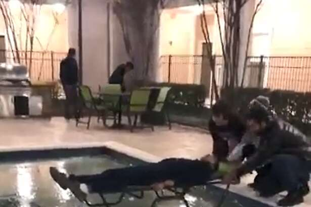 Students at Texas A&M went viral on Twitter after posting a video of them pushing a colleague on the ice of a frozen pool in January 2018.