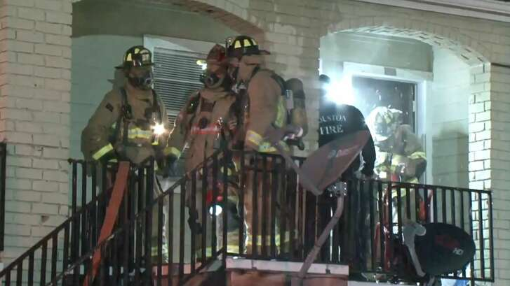 A fire late Thursday displaced two families at a northwest Houston apartment complex.