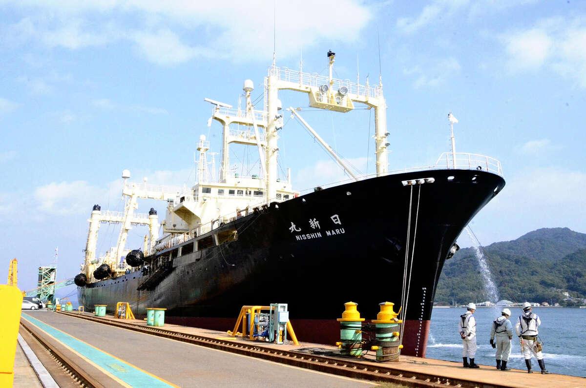 The Japanese whaling mother ship Nisshin Maru is seen in Onomichi, Hiroshima Prefecture, in November 2017.
