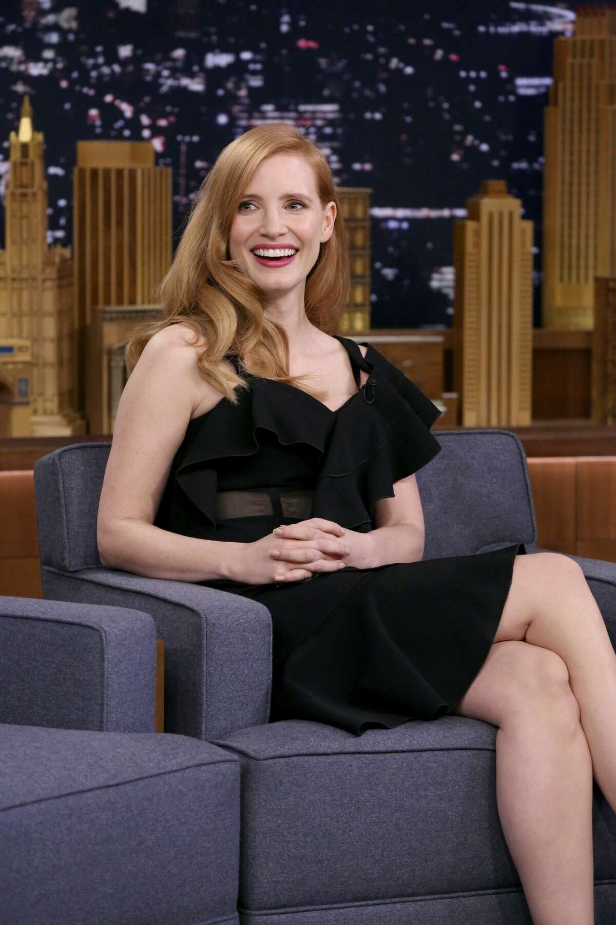 THE TONIGHT SHOW STARRING JIMMY FALLON -- Episode 0805 -- Pictured: Actress Jessica Chastain during an interview on January 18, 2018 -- (Photo by: Andrew Lipovsky/NBC/NBCU Photo Bank via Getty Images)