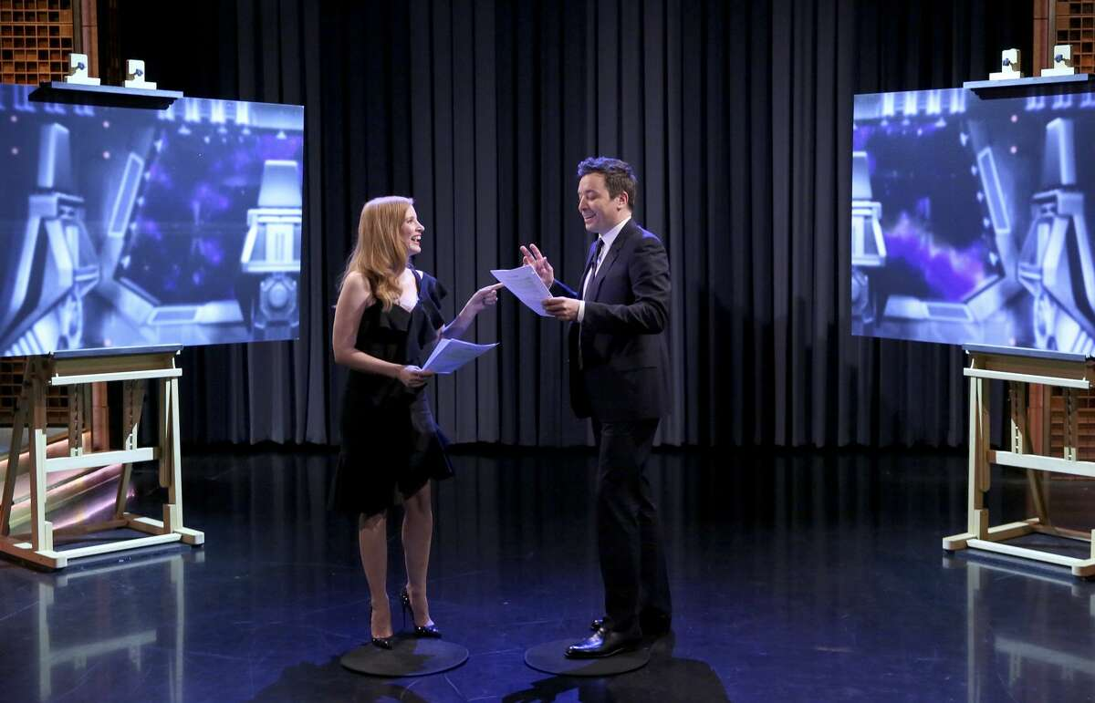 THE TONIGHT SHOW STARRING JIMMY FALLON -- Episode 0805 -- Pictured: (l-r) Actress Jessica Chastain with host Jimmy Fallon during