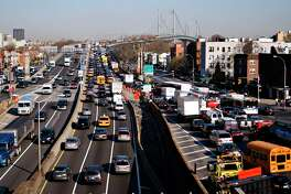 A 2008 file photo shows traffic backed up at the approach to the Triboro bridge in the Astoria neighborhood of Queens, New York.