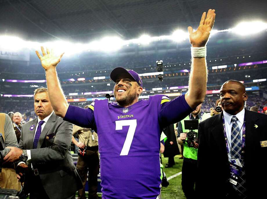 Case Keenum is on top of the world in Minnesota after his 61-yard touchdown pass put the Vikings in the NFC title game and one win from Super Bowl. Photo: Jamie Squire, Staff / 2018 Getty Images