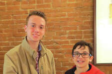 Jackson, left, and Jonah Hallquist with their five-song CD.