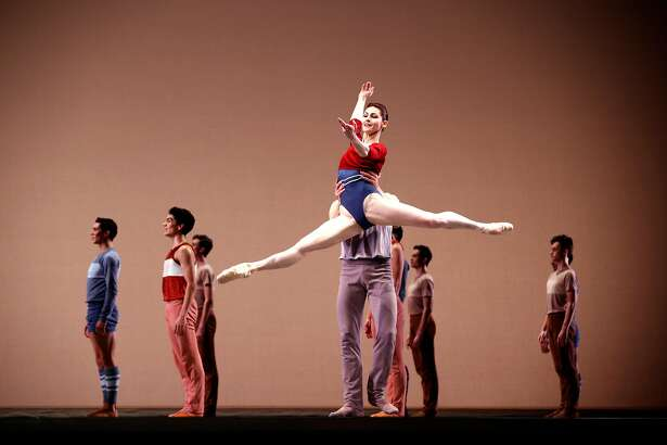 "Dancers join principals Sofiane Syle and Carlo Di Lanno as they perform ""Rodeo"" during a dress rehearsal for San Francisco Ballet 's opening night gala at the War Memorial Opera House on Thursday, Jan. 18, 2018 in San Francisco, Calif."