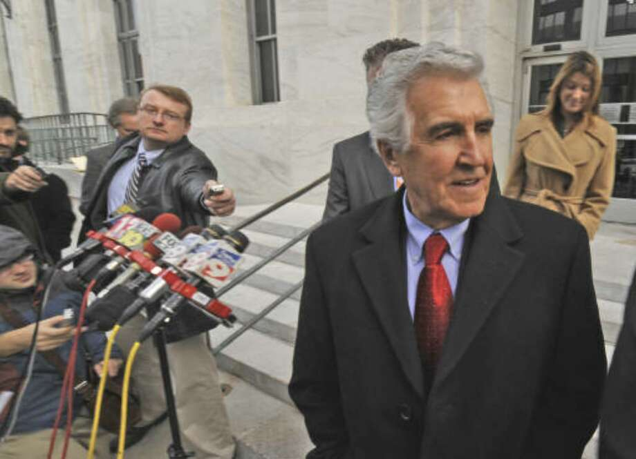 Former Senator Joseph Bruno speaks briefly to reporters outside the Federal Courthouse in Albany, N.Y., Dec. 2, 2009. (Skip Dickstein / Times Union)
