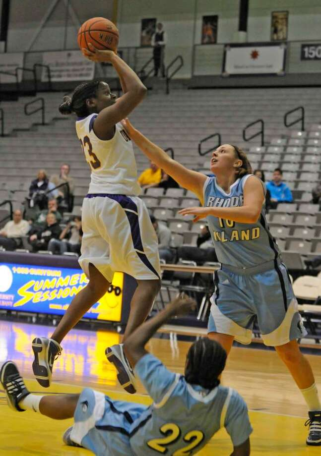 University at Albany's Charity Iromuanya goes up for a shot during their women's college basketball game against University of Rhode Island. (Michael P. Farrell/Albany Times Union) Photo: MICHAEL P. FARRELL