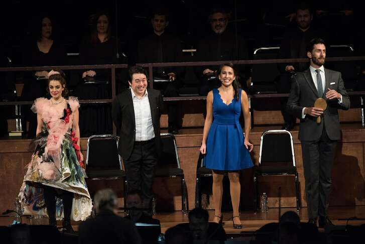 """Meghan Picerno (l.), Andrew Stenson, Vanessa Becerra and Hadleigh Adams in """"Candide"""""""