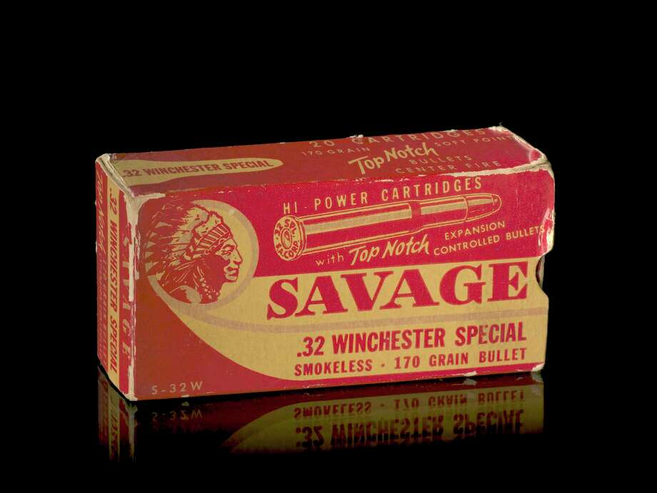 Savage Arms bullet box, ca. 1950. Savage Arms, whose guns are widely used in police departments, is named after its founder, Arthur Savage. Photo: National Museum Of The American Indian / National Museum of the American Indian
