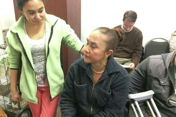 Maria Mercedes Vargas, the operator of a home-based massage business in The Woodlands, with her daughter Jennifer Vargas,  during a meeting of the Development Standards Design Committee on Jan. 17, 2018.  Her