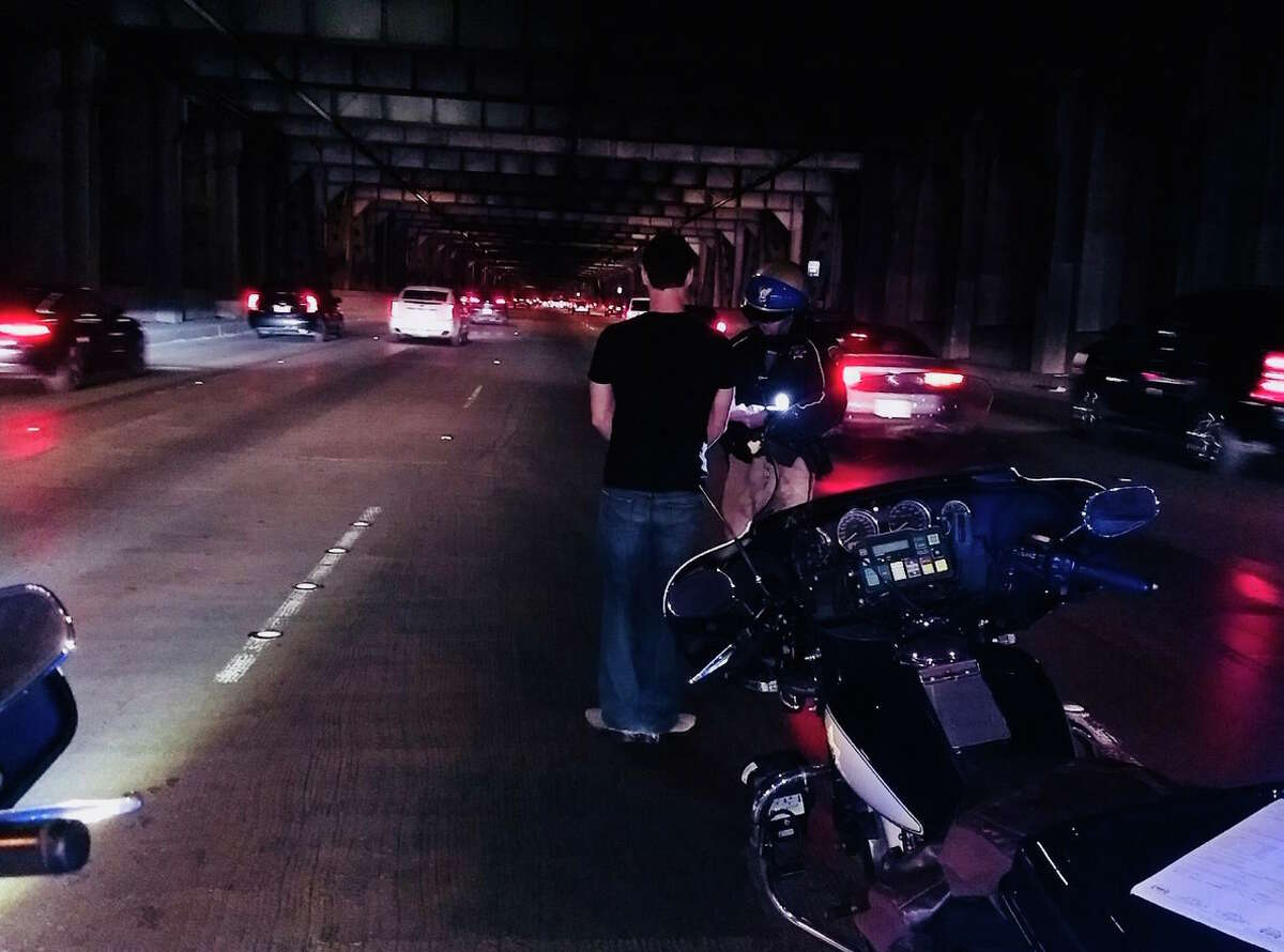 A driver of a Tesla was arrested on the Bay Bridge Thursday night.
