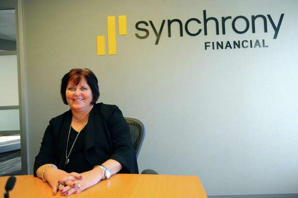 Synchrony Financial CEO and President Margaret Keane poses for a photo inside Synchrony headquarters at 777 Long Ridge Road in Stamford, Conn., on Nov. 27, 2017.