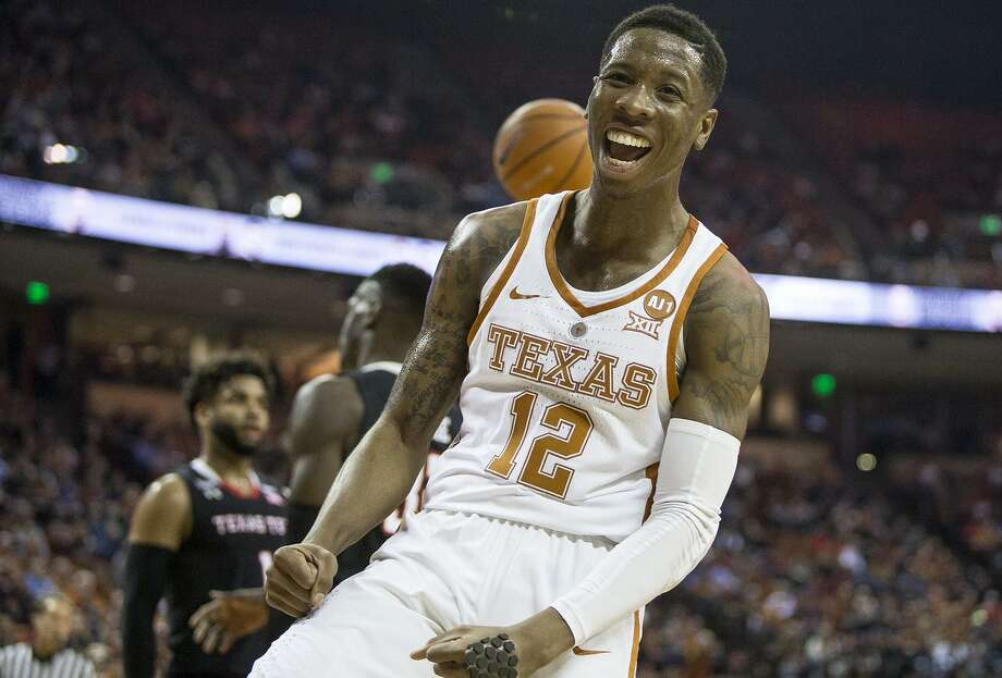 Texas guard Kerwin Roach II (12) celebrates a basket against Texas Tech at the Frank Erwin Center in Austin, Texas, on Wednesday, Jan. 17, 2018. The host Longhorns won, 67-58. (Nick Wagner/Austin American-Statesman/TNS) Photo: Nick Wagner, MBR / TNS / Austin American-Statesman