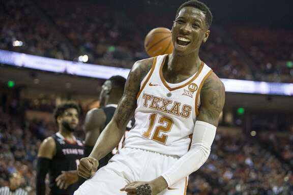 Texas guard Kerwin Roach II (12) celebrates a basket against Texas Tech at the Frank Erwin Center in Austin, Texas, on Wednesday, Jan. 17, 2018. The host Longhorns won, 67-58. (Nick Wagner/Austin American-Statesman/TNS)