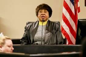 Doris Mixon Smith takes the stand in the 187th state District Court in the case against Alphonso McCloud and his wife, Stanyelle Miles-McCloud, on Friday. McCloud and MIles-McCloud are accused of serious bodily injury after their 70-pound pit bull got out of their yard on March 6, 2017, and mauled Smith, now 73, tearing her left arm off at the elbow.
