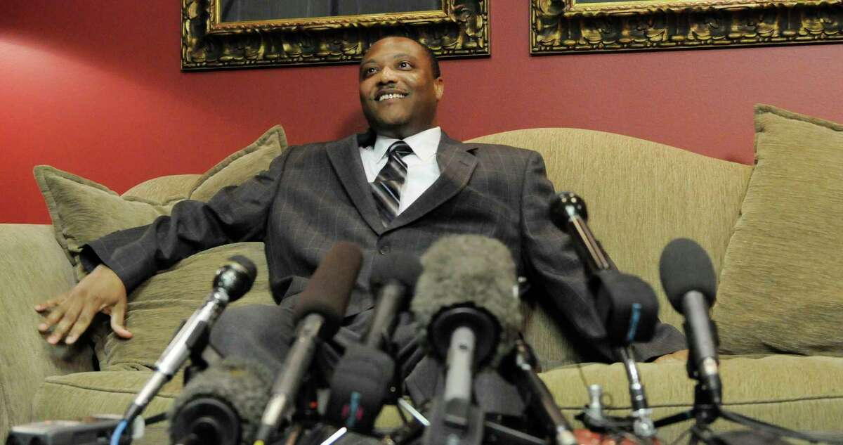An exonerated Anthony Graves speaks at a news conference Thursday, Oct. 28, 2010 in Houston. Graves spent 18 years behind bars for the 1992 murders of a Somerville, Texas family. (AP Photo/Pat Sullivan)