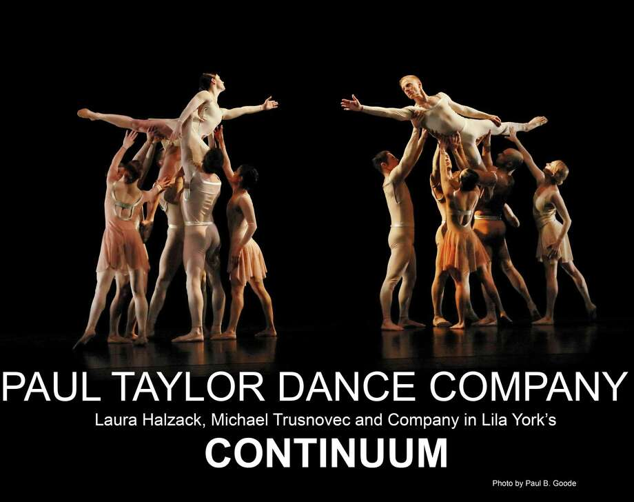 "Connecticut native Laura Halzack, left being held ahigh, opposite Michael Trusnovec, with ensemble members, dance in ""Continuum,"" which will be performed by the Paul Taylor Dance Company when it comes to Fairfield on Jan. 26. Photo: Paul B. Goode / Contributed Photo"