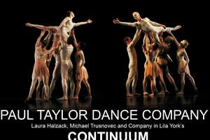 """Connecticut native Laura Halzack, left being held ahigh, opposite Michael Trusnovec, with ensemble members, dance in """"Continuum,"""" which will be performed by the Paul Taylor Dance Company when it comes to Fairfield on Jan. 26."""