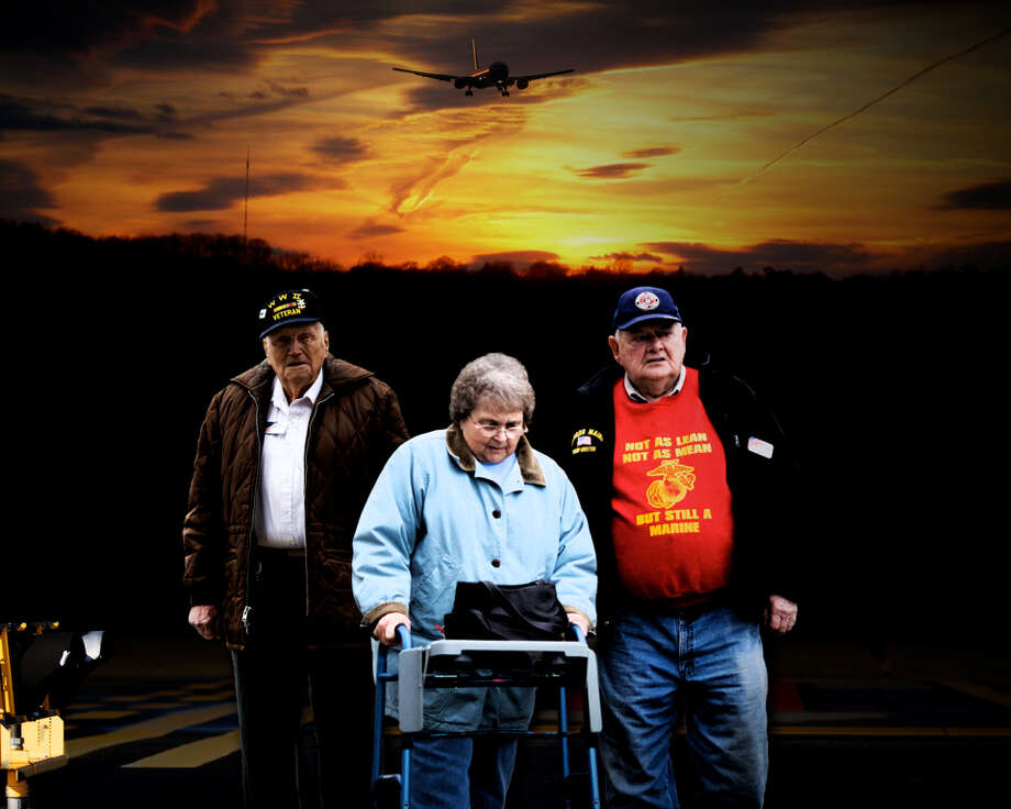 """On call 24 hours a day, a group of senior citizens has made history by greeting over 900,000 American troops at a tiny airport in Bangor, Maine. The Emmy-nominated film, """"The Way We Get By,"""" is an intimate look at three of these greeters as they confront the universal losses that come with aging and rediscover their reason for living. The film will premiere in The Woodlands during the Inspire Film Festival which runs Feb. 15-19. Photo: Courtesy Photo"""