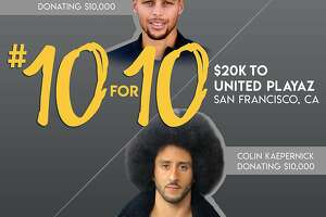 Stephen Curry and Colin Kaepernick donated $10,000 each to United Playaz, the San Francisco-based violence prevention organization.