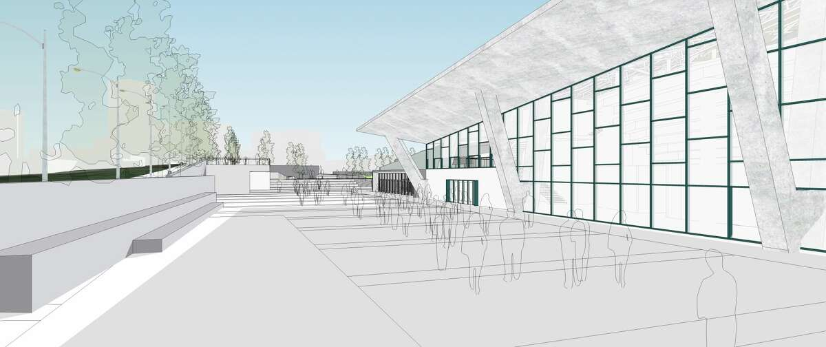 Updated renderings show Oak View Group's plans for a pedestrian plaza on the east side of a redeveloped KeyArena.