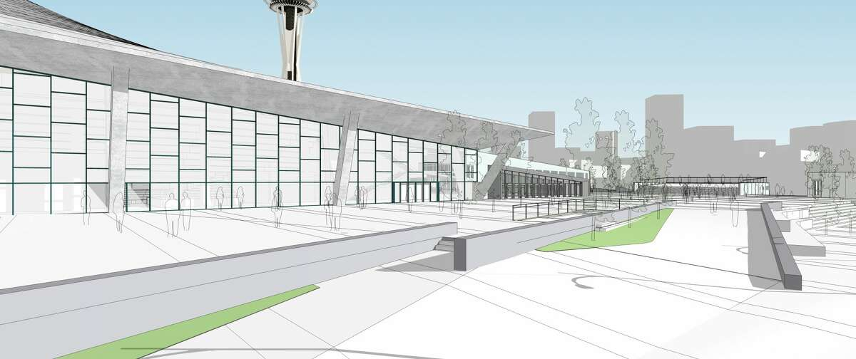 Updated renderings show Oak View Group's plans for a pedestrian plaza on the west side of a redeveloped KeyArena.