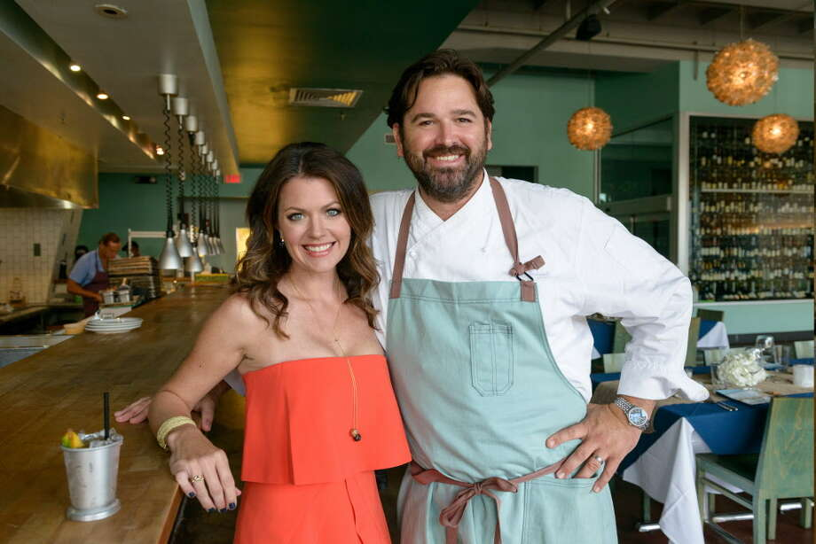 Chef Bryan Caswell, right, and his wife Jennifer Caswell opened Oxbow 7 restaurant in the Le Meridien hotel in 2017. Photo: Courtesy Photo