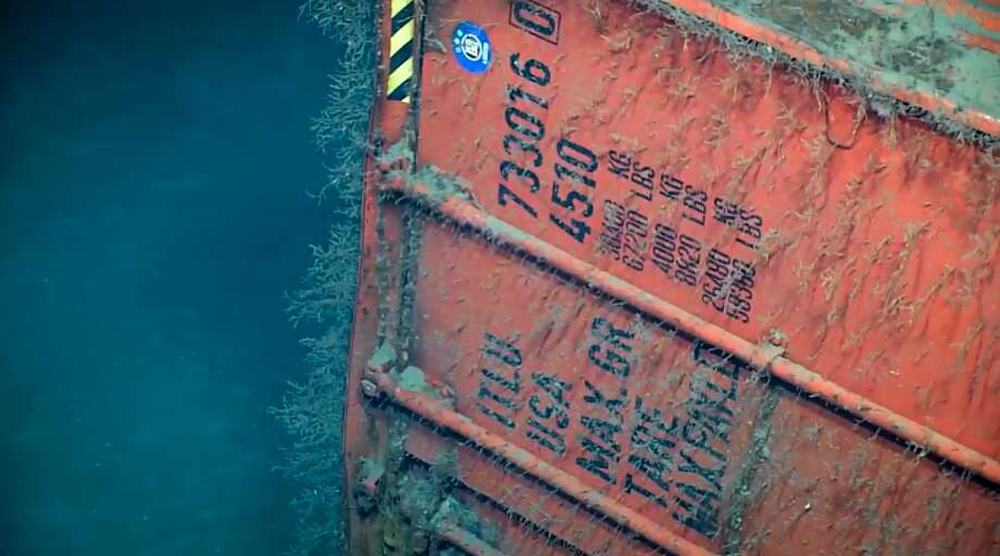 Okeanos Explorer found a 40-foot shipping container including washing machines and freezers, according to the NOAA Facebook page and website. Photo: NOAA