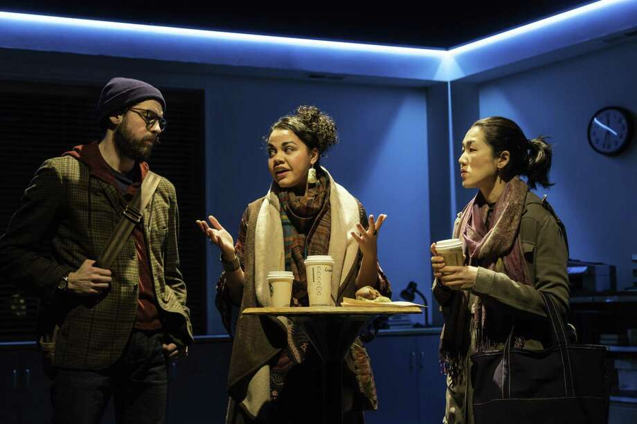 "From left, Jeremy Kahn, Kerry Warren and Jackie Chung in ""Office Hour."" Photo: T. Charles Erickson / Long Wharf Theatre"