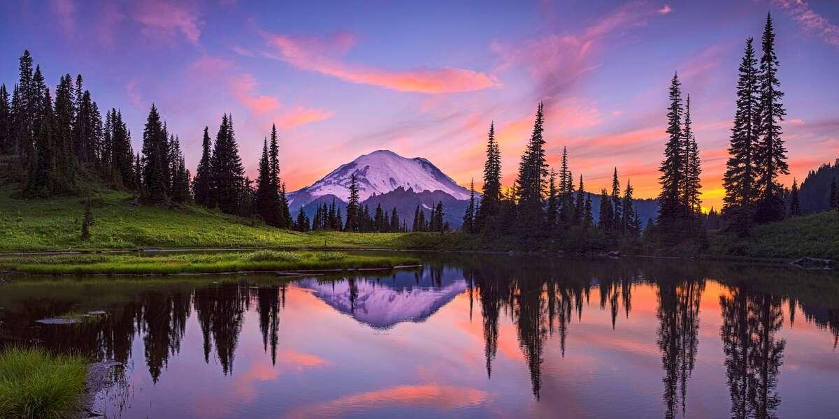 Tipsoo Lake at sunset, Mt. Rainier National Park, Washington State, USA