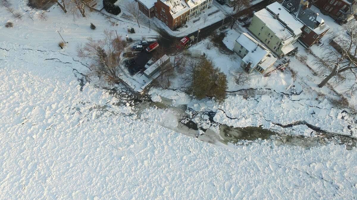 Drone photos taken by the New York State Department of Environmental Conservation show the ice dam on the Mohawk River near Schenectady. The ice dam runs along Riverside Park and Washington Ave.