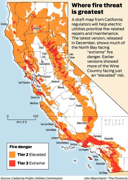 California regulators approve long-awaited fire risk map ... on pg&e fire map, northern california fires map, california active fires map, county fire map, san jose fire map,