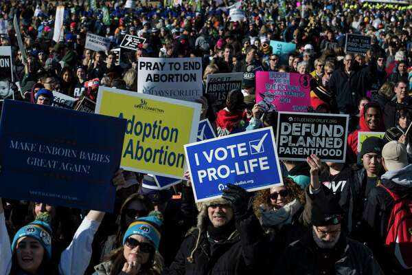 Thousands of people gather on the National Mall during the March for Life on January 19 in Washington.