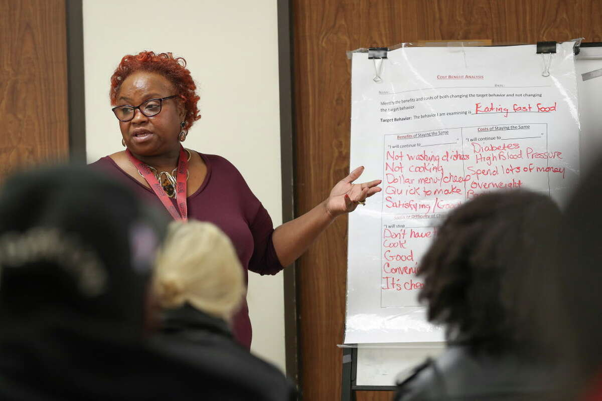Sandra Turner leads a class in Harris County's Misdemeanor Marijuana Diversion Program.