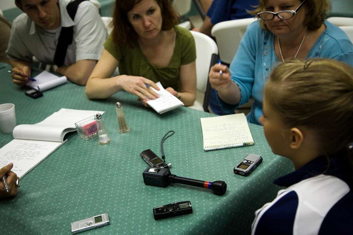 Shawn Johnson faces a group of reporters during USA Gymnastics National Team training at the Karolyi Ranch, Wednesday, May 7, 2008, in New Waverly. ( Smiley N. Pool / Chronicle )