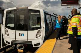 The newest Bart train arrives for the second part of its inaugural ride Friday, Jan. 19, 2018 at Richmond Station in Richmond, Calif.