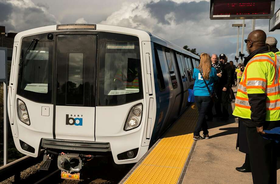 The newest BART train arrives on its inaugural day of service Jan. 19. All 10 cars have been pulled for maintenance. Photo: Jessica Christian, The Chronicle