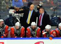 Sound Tigers head coach Brent Thompson, left, has the team in nearly the same position as last year at the midway point of the season. Bridgeport missed the playoffs last season and currently sit fifth again this year.