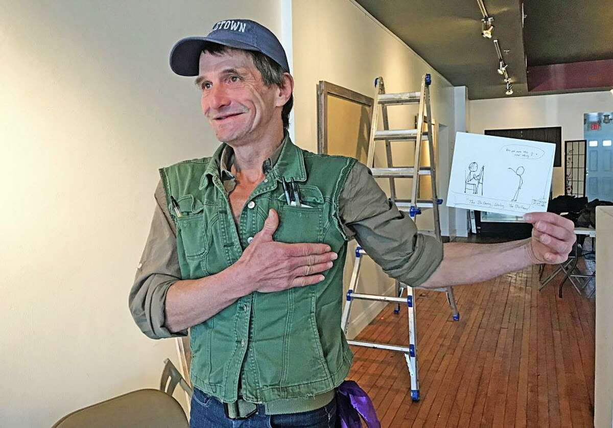 """The opening reception for """"Fred Carroll: The Collections"""" is Saturday from 7 to 11 p.m. at MAC 650 Gallery & Artist Co-Op, 650 Main St., Middletown. Carroll's stick figure commentaries touch on politics, current events, education, philosophy and more."""
