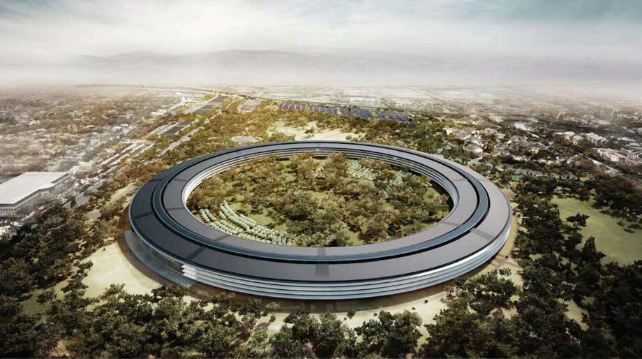 An artist's rendering in 2012, shows the proposed new Apple Inc. campus, which would have 2.8 million square feet of office space and sit on 175 landscaped acres in Cupertino, California. Silicon Valley companies are prime examples of workers job hopping constantly. Photo: /Via Bloomberg / City of Cupertino