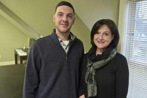 Matthew DeLuca and his mother Donna DeLuca, founder of C.A.R.E.S., a support group for families of people suffering from substance abuse. Friday, Januaru 19, 2018, in Danbury, Conn.