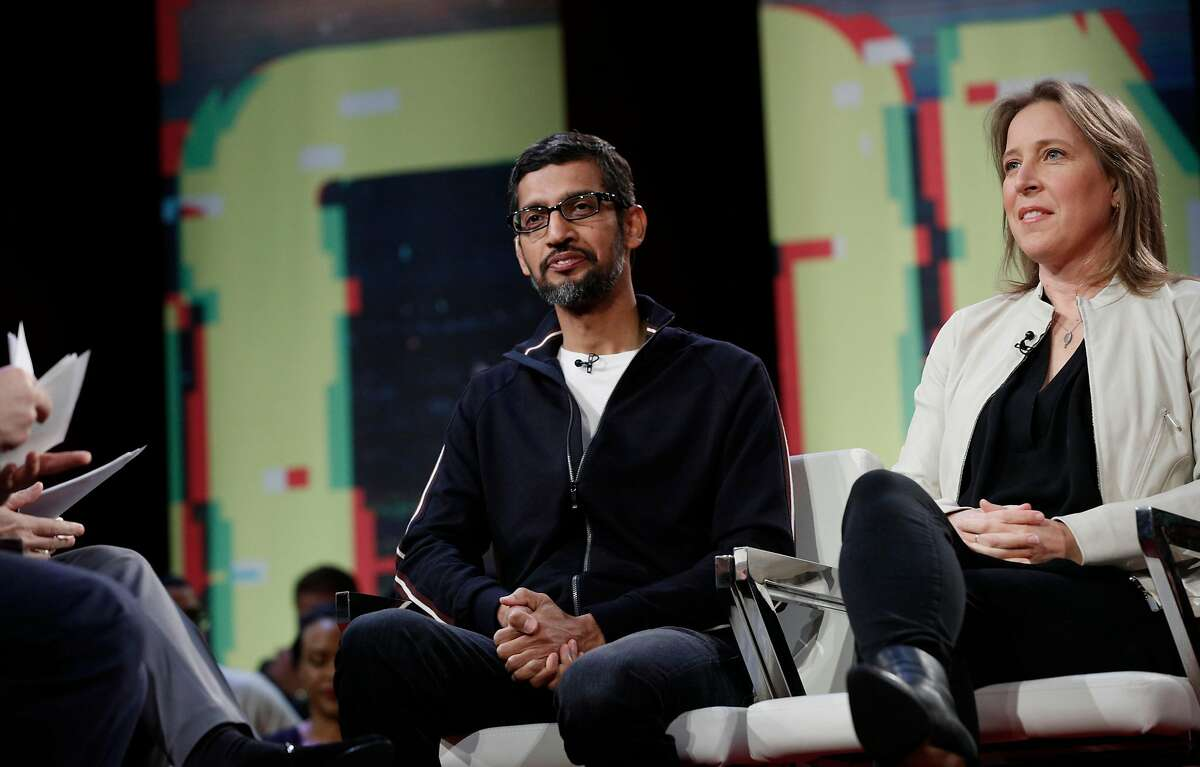 Co-hosts Ari Melber, of MSNBC and Kara Swisher with Recode talk with Google CEO Sundar Pichai, (left) and YouTube CEO Susan Wojcicki participate in an MSNBC/Recode Town Hall event at the Yerba Buena Center for The Arts on Friday, Jan. 19, 2018 in San Francisco, Calif.
