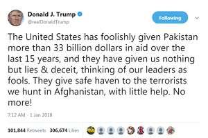 5.  CriticizingPakistan     Retweets: 101,846