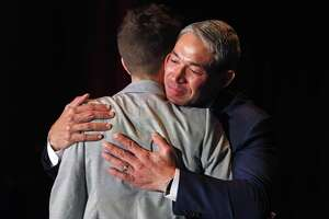 Mayor Nirenberg hugs CEO Molly Cox after his speech. The nonprofit SA2020 organization will present its annual impact study during a Friday luncheon. Julian Castro is giving the opening remarks, the first time he's addressed SA2020 directly since he was mayor. Nirenberg will offer closing remarks on Friday, January 19, 2018 in San Antonio, Texas at Henry B. Gonzalez Convention Center