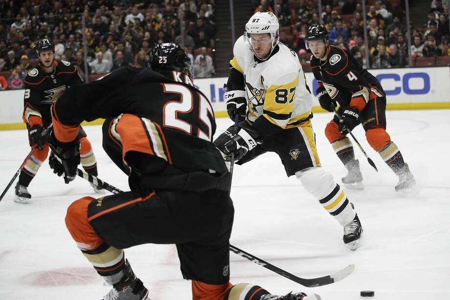 Pittsburgh captain Sidney Crosby (87) has 50 points in 48 games, but not all of his Penguins teammates are meeting expectations this season for the defending Stanley Cup champs. Photo: Jae C. Hong, Associated Press