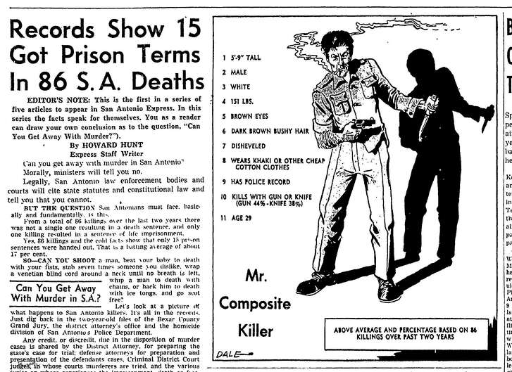 "The Mr. Composite Killer illustration ran at the top of a page of the Jan. 3, 1954, San Antonio Express to help kick off a series of five articles titled, ""Can You Get Away With Murder in S.A.?"""