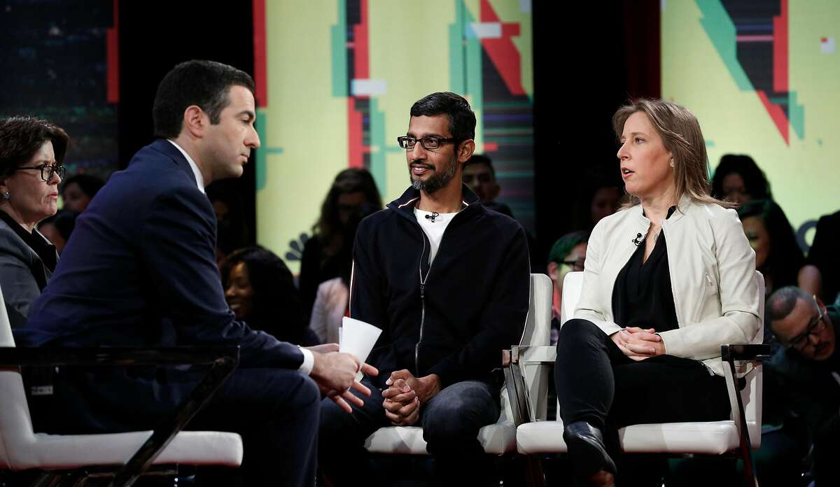 ( l to r) Co-hosts Kara Swisher with Recode and Ari Melber, of MSNBC talk with Google CEO Sundar Pichai and YouTube CEO Susan Wojcicki participate in an MSNBC/Recode Town Hall event at the Yerba Buena Center for The Arts on Friday, Jan. 19, 2018 in San Francisco, Calif.