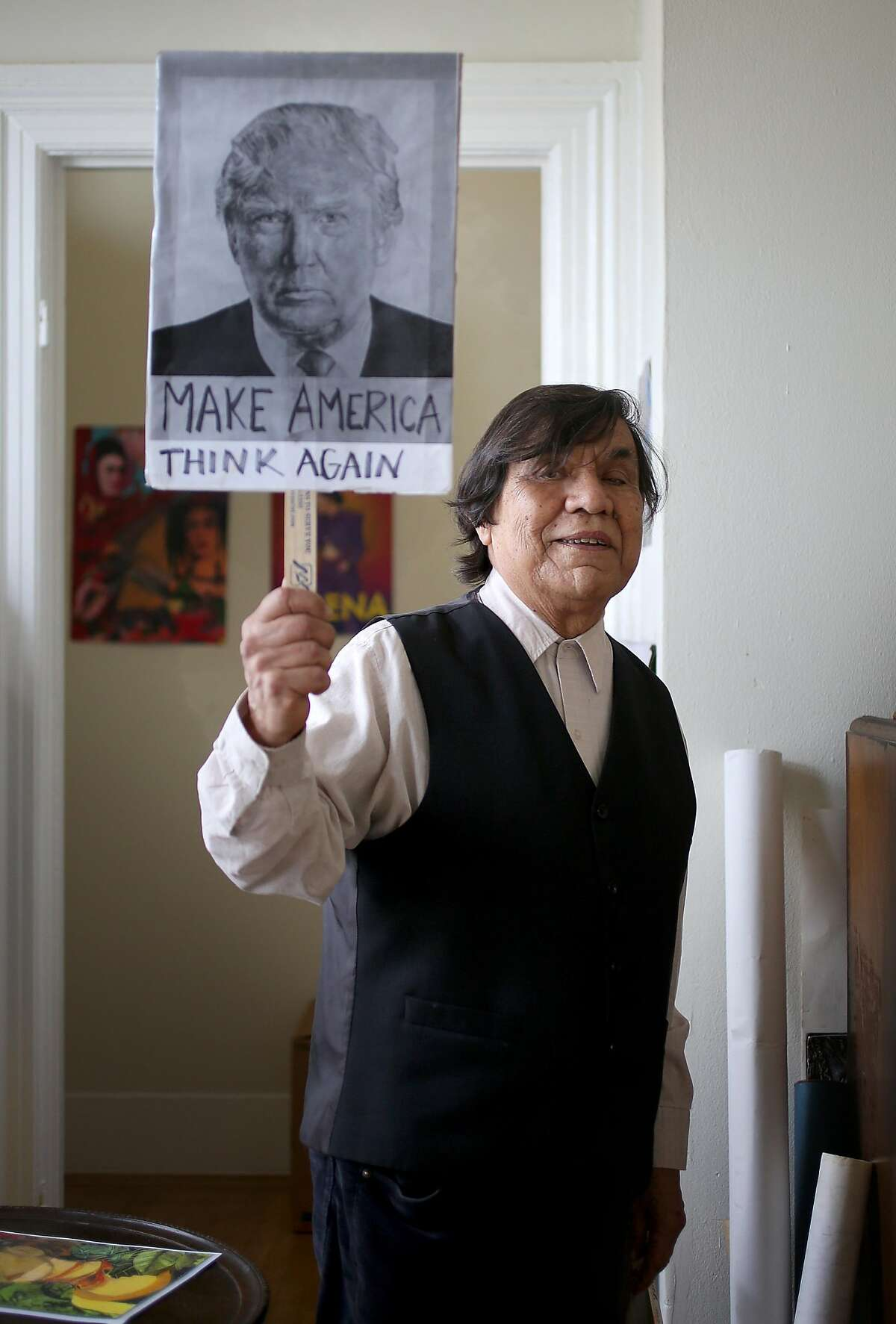 Ren� Ya�ez who popularized Dia de los Muertos and Frida Kahlo shows some of his work at home on Friday, December 15, 2017, in San Francisco, Ca.