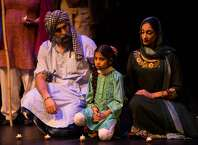 "Boota Singh the Sikh (Chanpreet Singh, left), his Muslim wife Zainab (Farah Yasmeen Shaikh, right) and their daughter Tanveer (Aziza Noor Shaikh, center), torn apart by laws of state, are re-united only in death in ""The Parting,"" produced by�EnActe Arts and Noorani Dance and performed at Z Space."